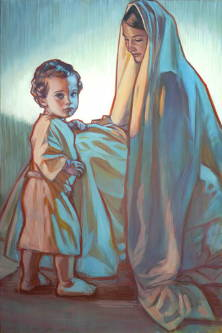 Painting of Jesus as a toddler standing next to Mary.