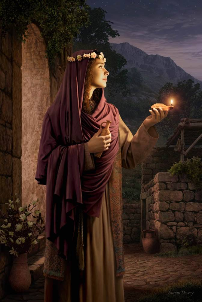 LDS art  painting of a wise virgin holding out a glowing lamp.