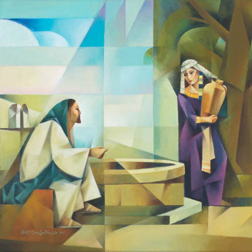 Abstract painting of Jesus speaking with the woman at the well.