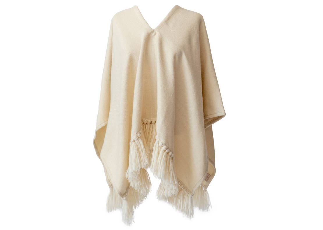 herringbone handwoven croppd fringe alpaca poncho in winter white - Stick & Ball