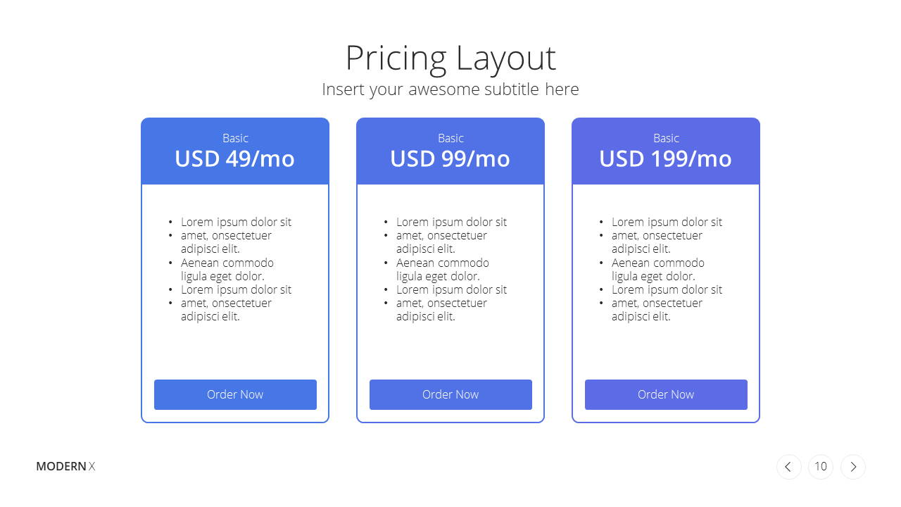 Modern X  Company Profile Presentation Template Pricing