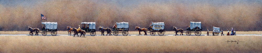 LDS art painting of a trail of covered wagons and handcarts traveling down a road.
