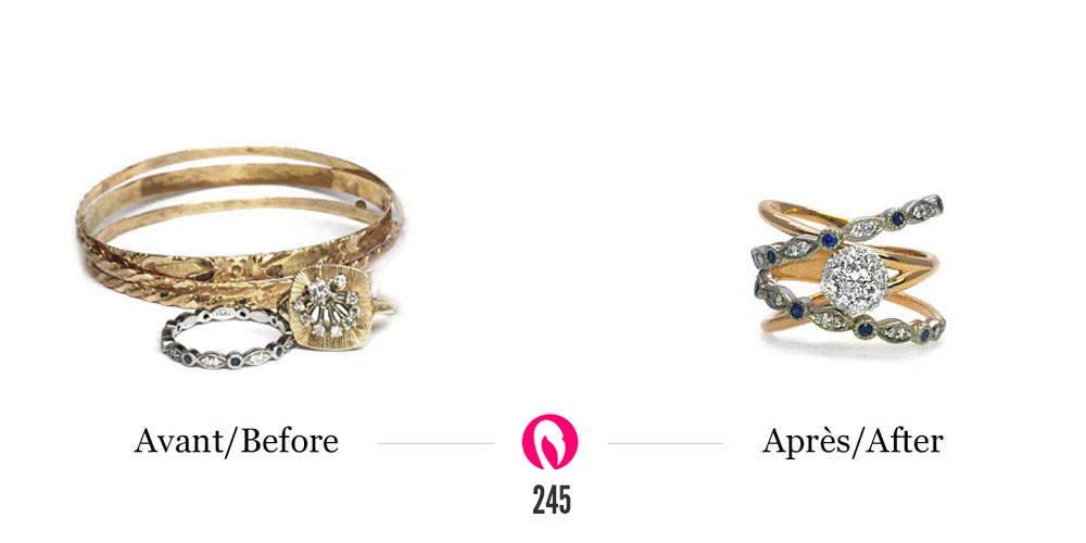 deux bracalets et deux bagues à gauche et le nouveau bijou transformé à droite