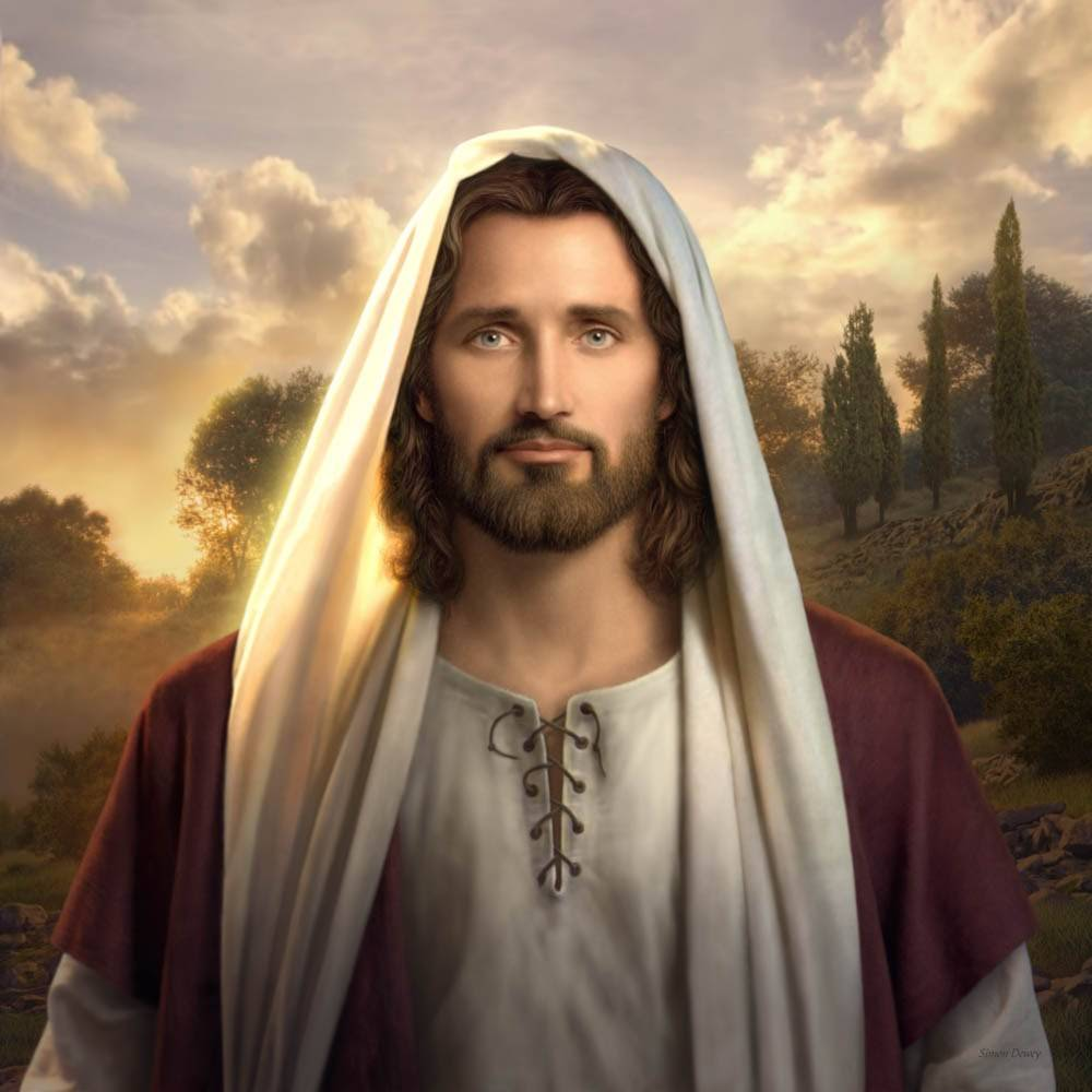 Beautiful painting of Jesus against a peaceful backdrop as the sun rises.
