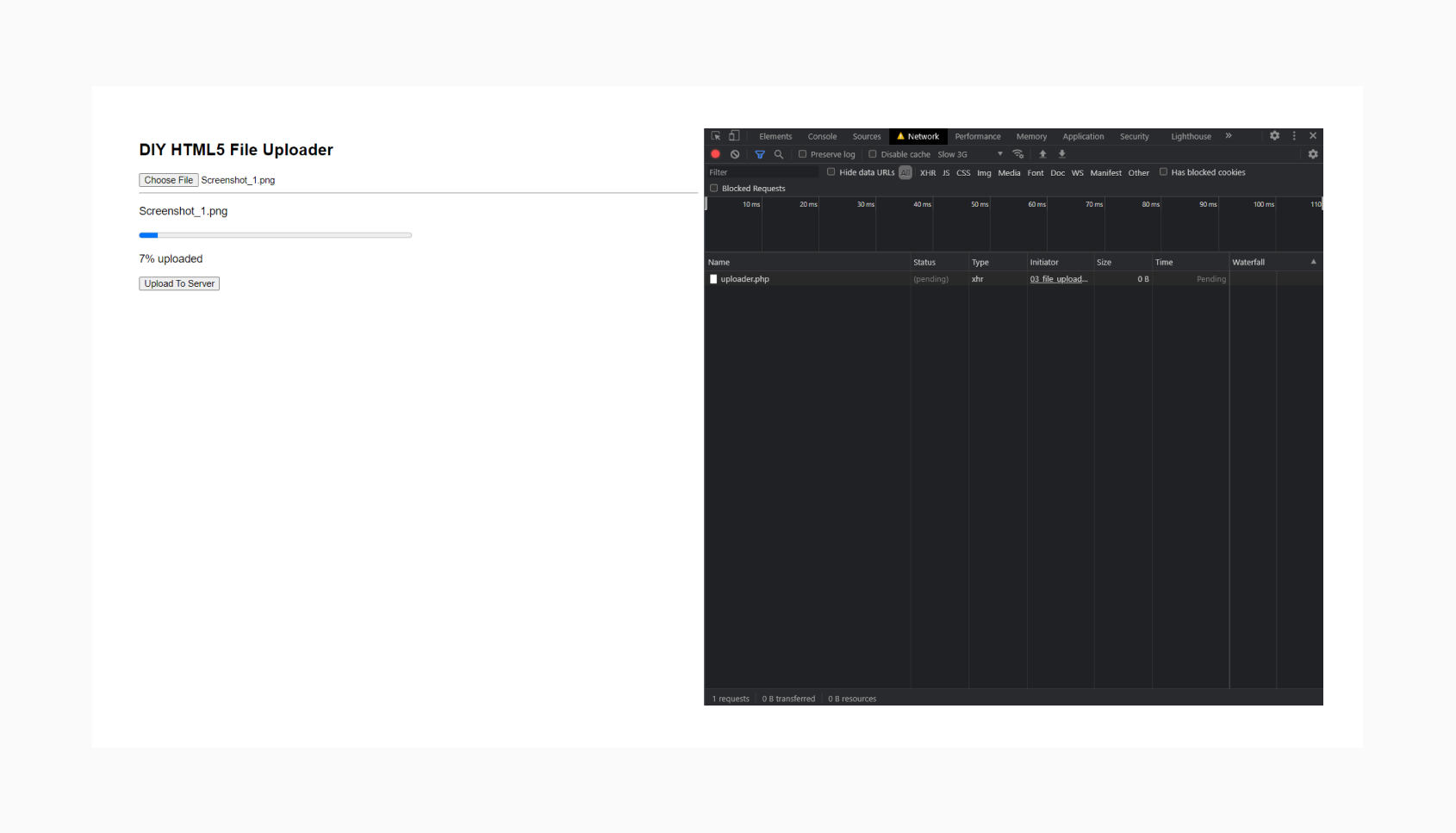 HTML5 File Uploader with a progress bar
