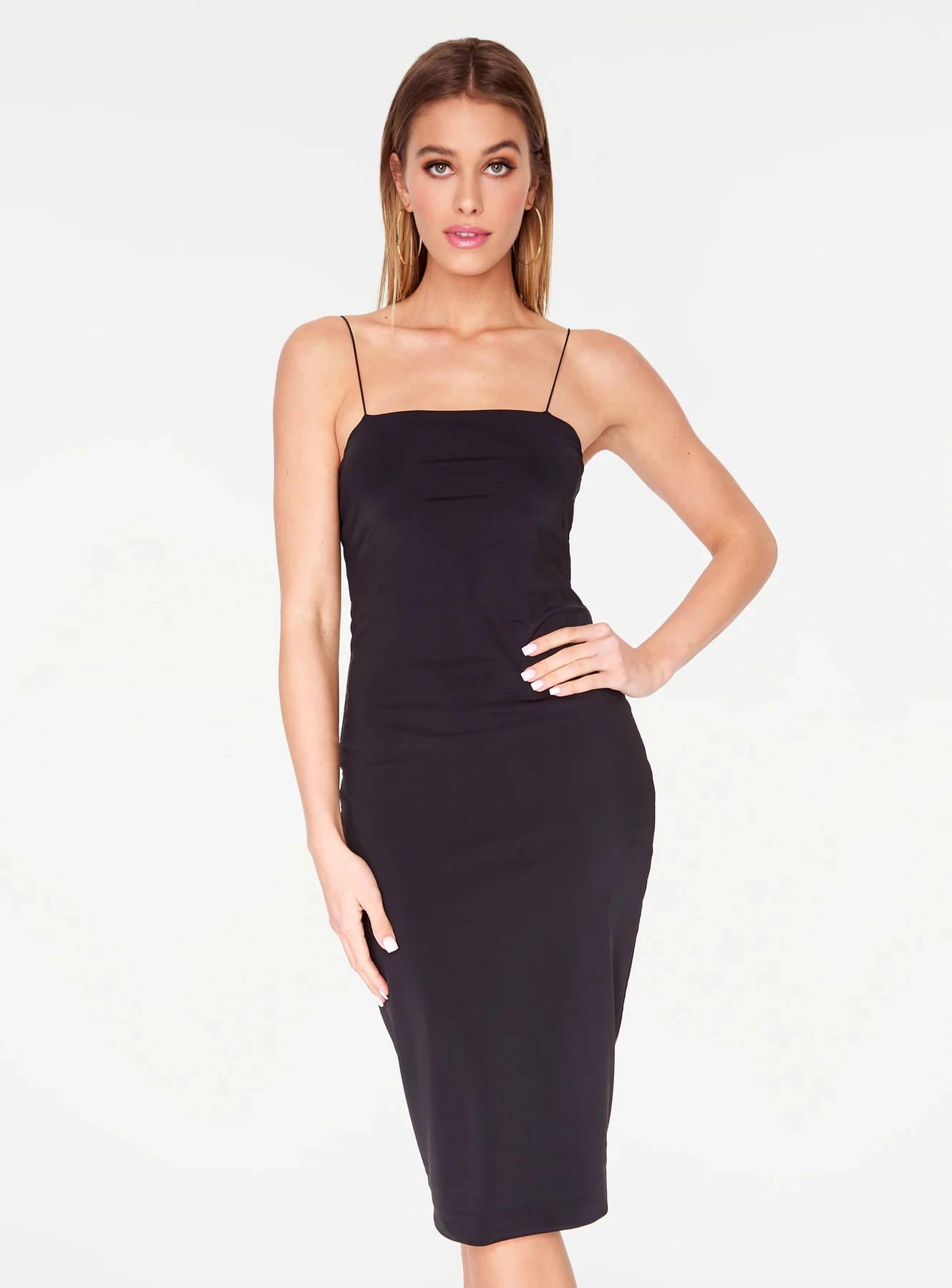 HeyYou Basic Black Midi Bodycon Dress