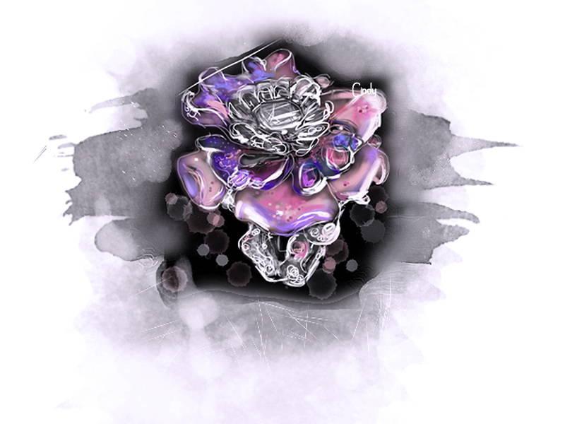 Burmese Rose ring drawing