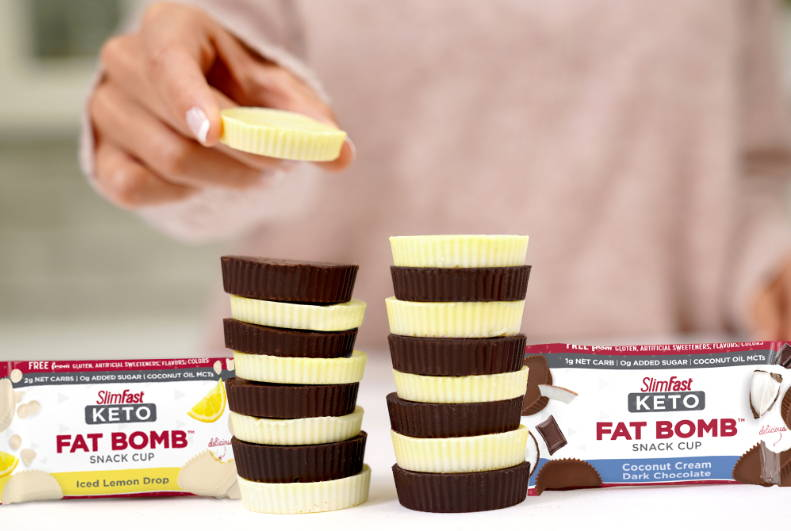 Stacked up  Keto Bombs in Iced Lemon Drop and Coconut Cream Dark Chocolate flavors
