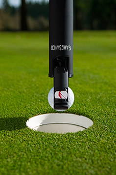 The GameSaver golf putter grip retrieves your golf ball from the hole