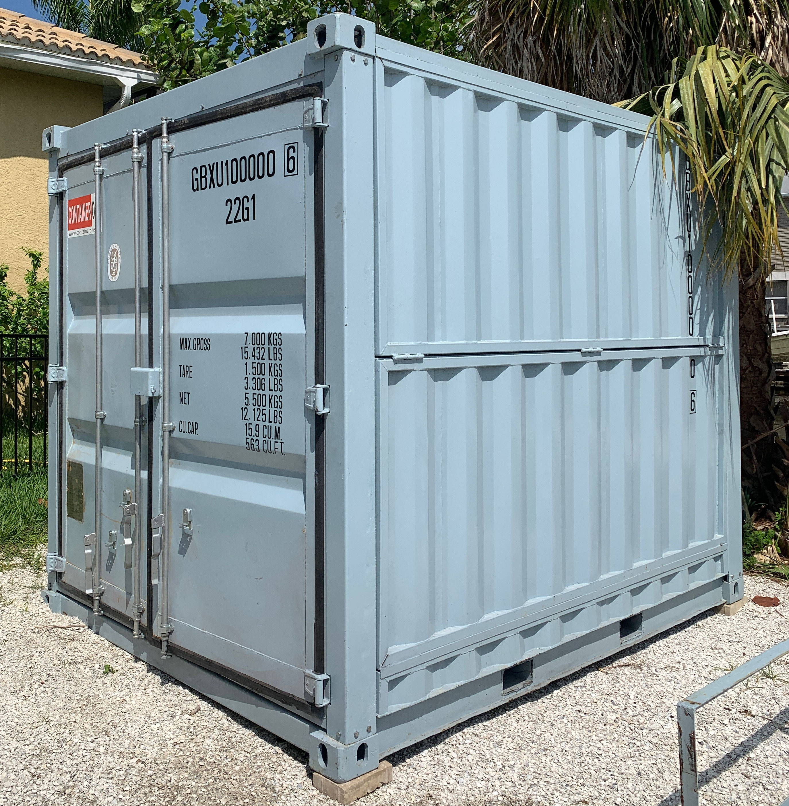 10 foot collapsible shipping container side view of hinges