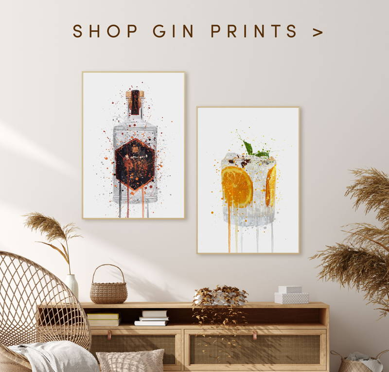 Red gin bottle splatter art wall print above a coffee table