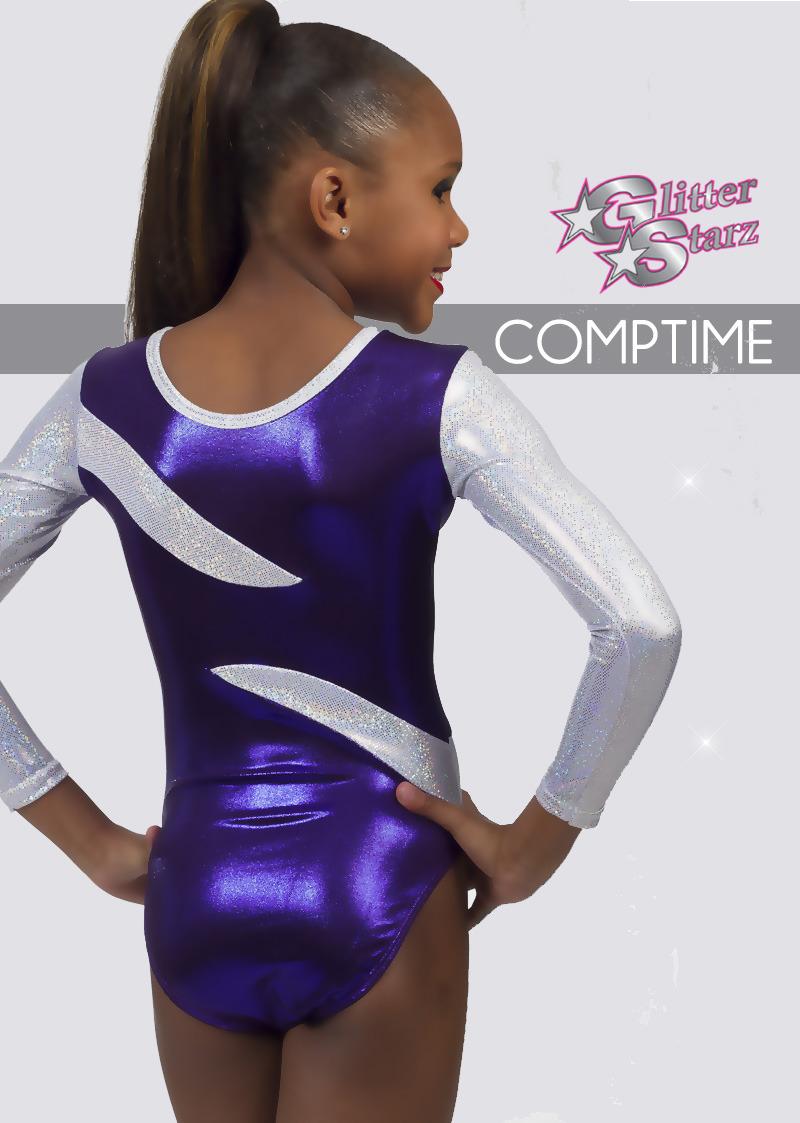 glitterstarz custom leotard purple silver metallic stretchy dancewear gymnastics
