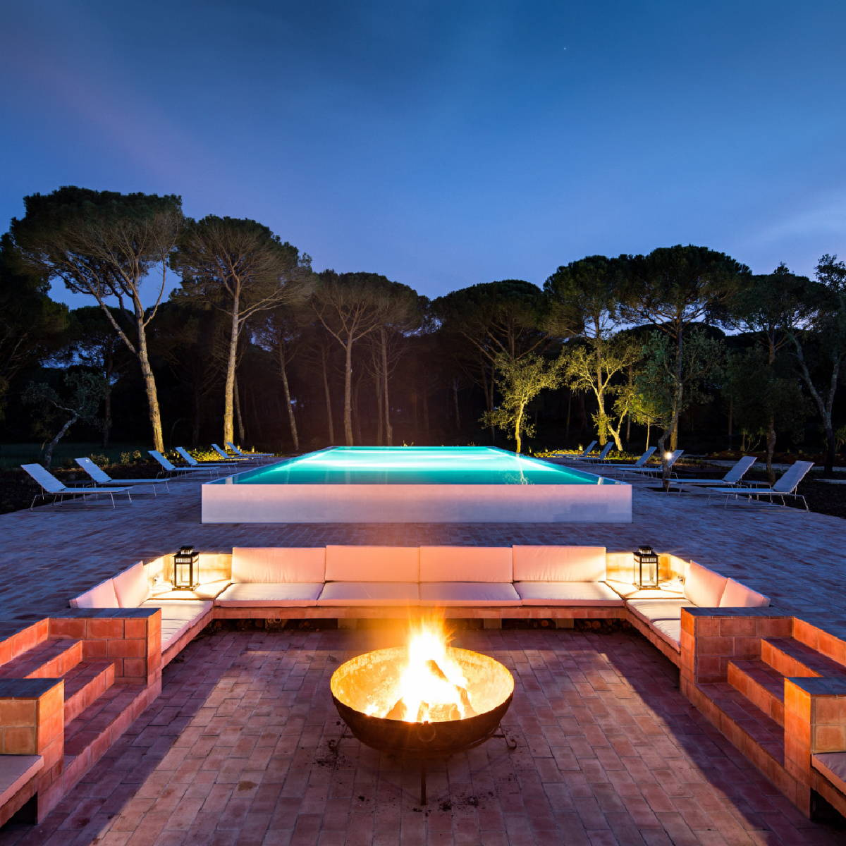 Fire pit and pool at Sublime Comporta Portugal