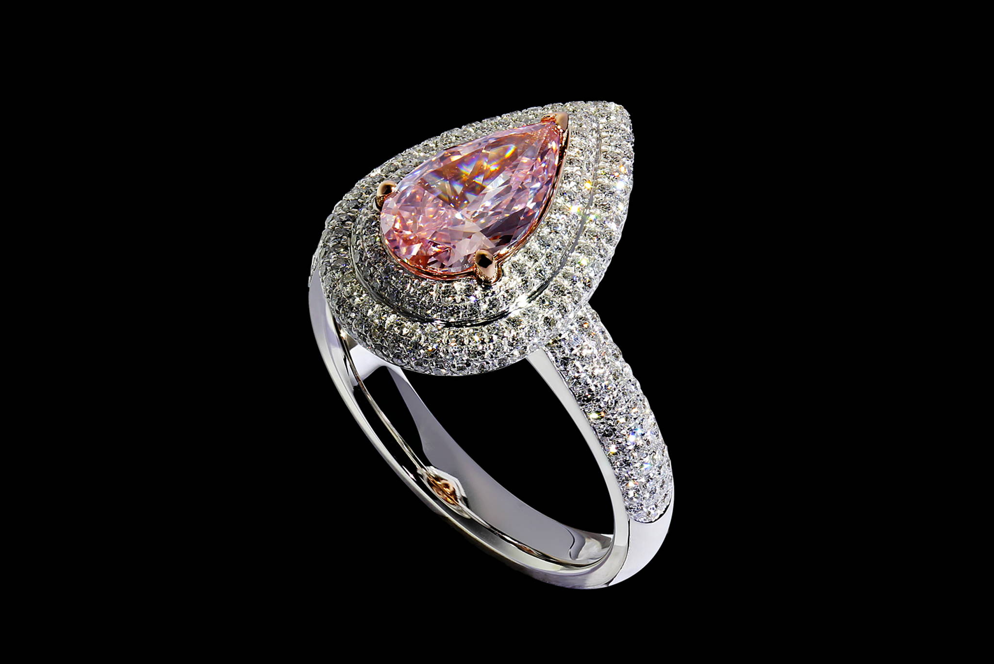 Vintage Style Pink Diamond Ring 45 degrees view