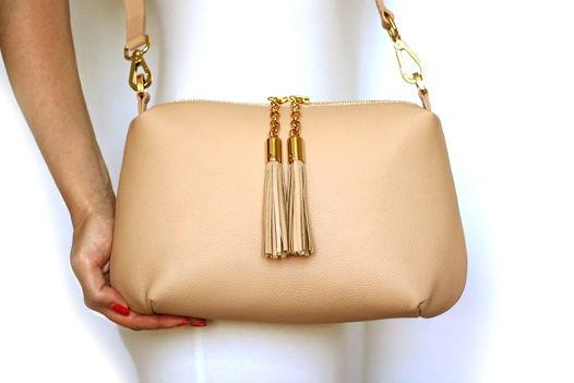 Пудреная кожаная сумка Ivy (золотистая фурнитура)
