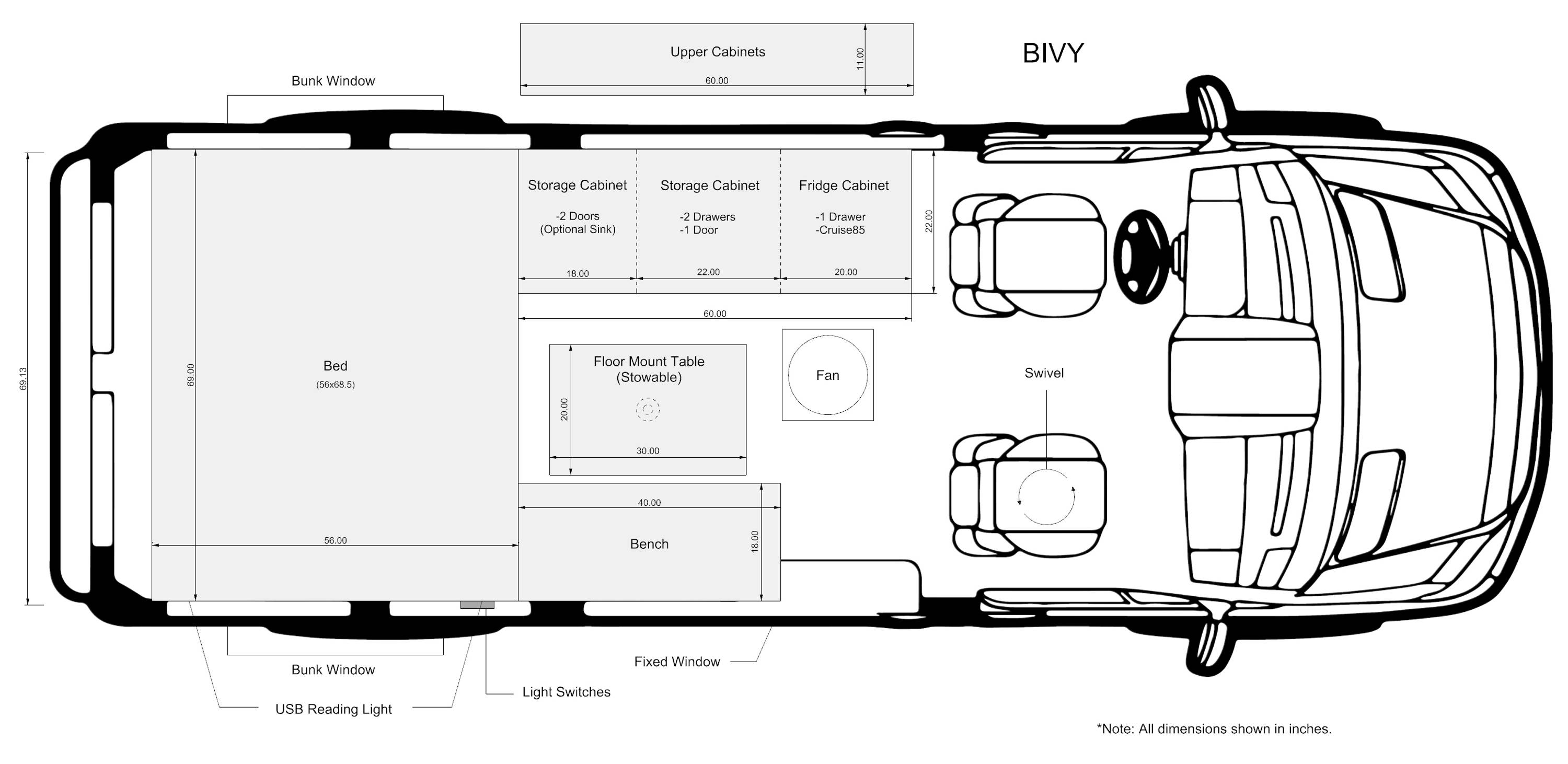 The Bivy+ - Sprinter 144 / ProMaster 136 Van Conversion Floor Plan and Interior Layout with Refrigerator - The Vansmith