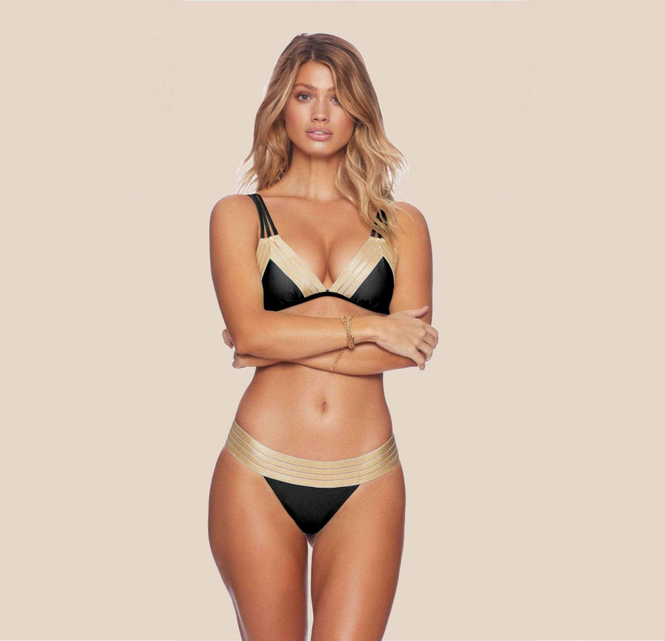Beach Bunny Sheer Addiction Black and Gold Bikini Top + Bottom