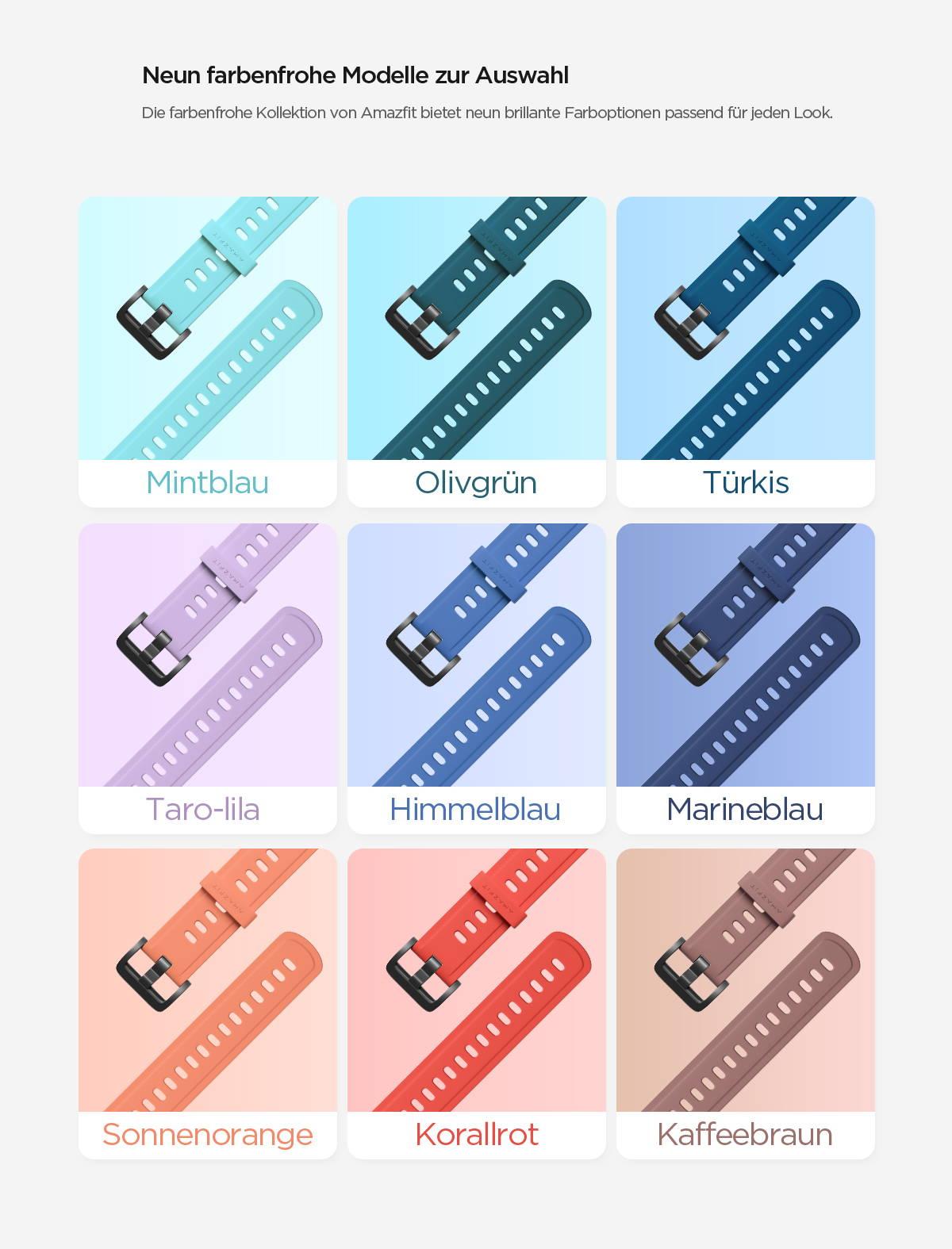 Amazfit Strap - Neun farbenfrohe Modelle zur Auswahl