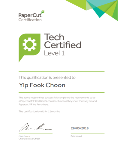 Papercut certification for Yip Fook Choon