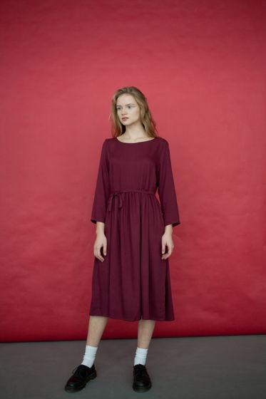 Платье с завязками, марсала