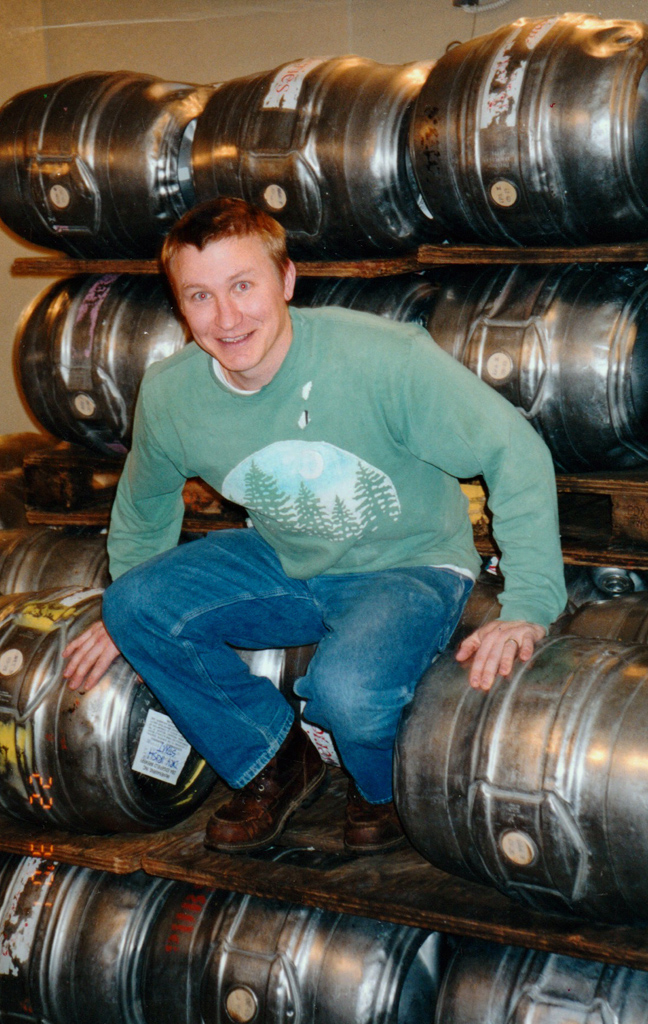 jason brewery manager at edgfield brewery stacking kegs