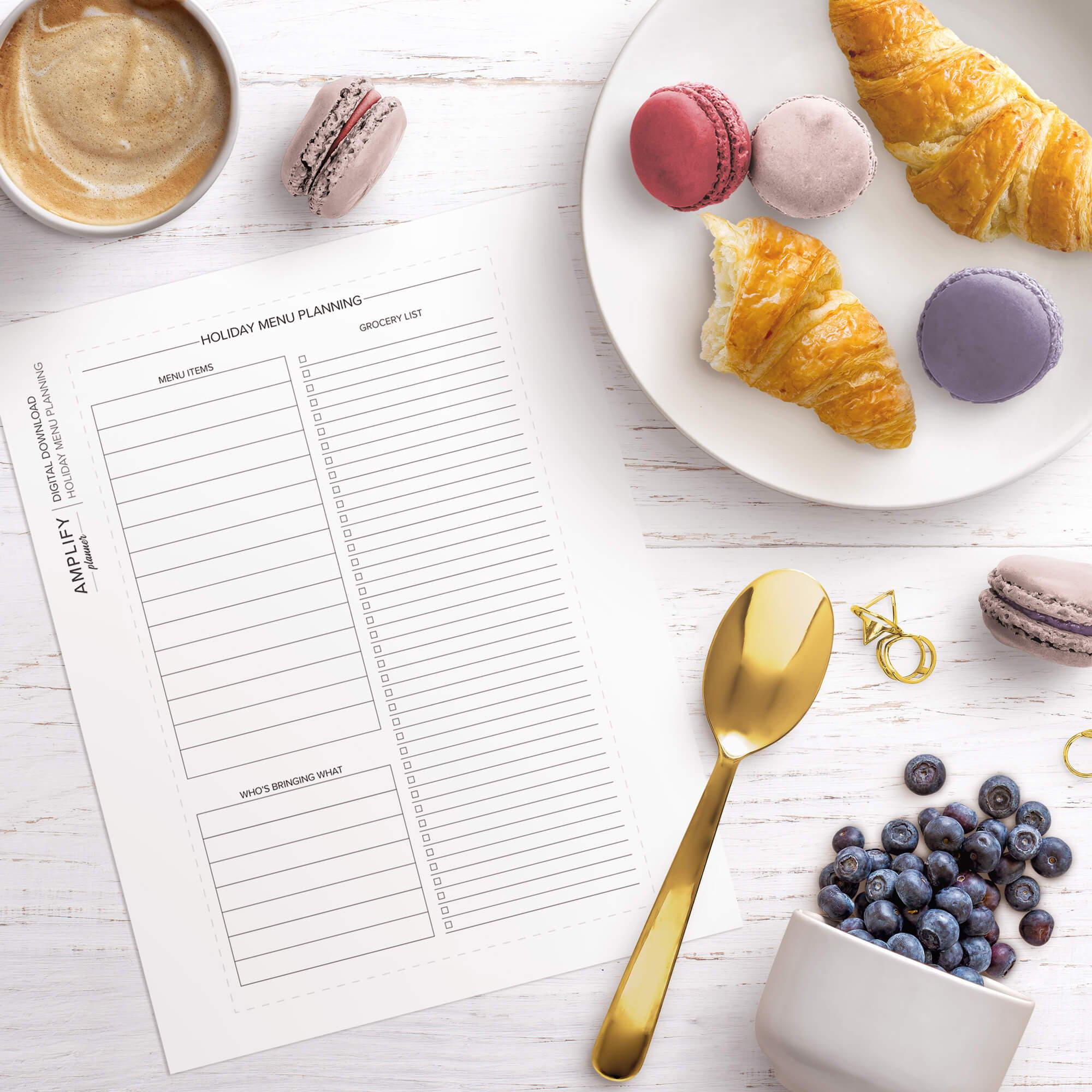 amplify planner holiday menu planner insert