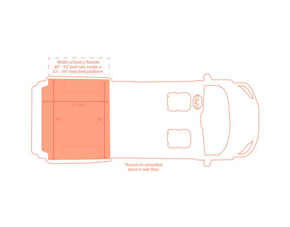 Diagram drawing of a van with Flarespace Flares installed for increased interior space