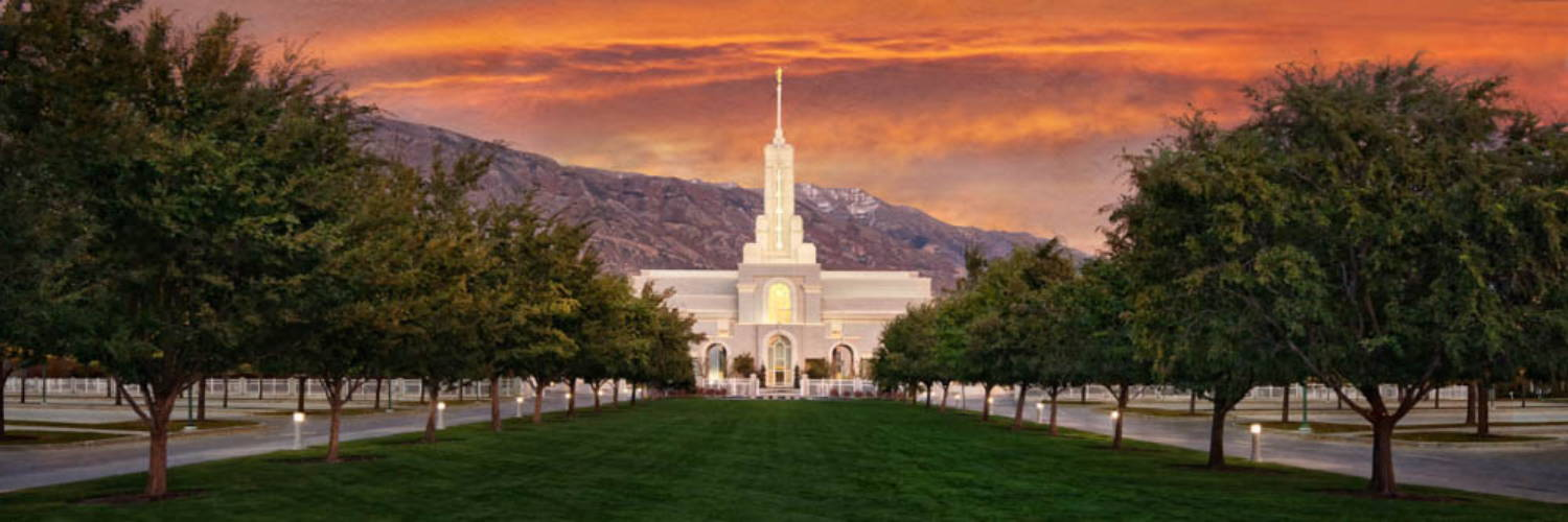 Banner photo of the Mount Timpanogos LDS temple against an orange sunrise.