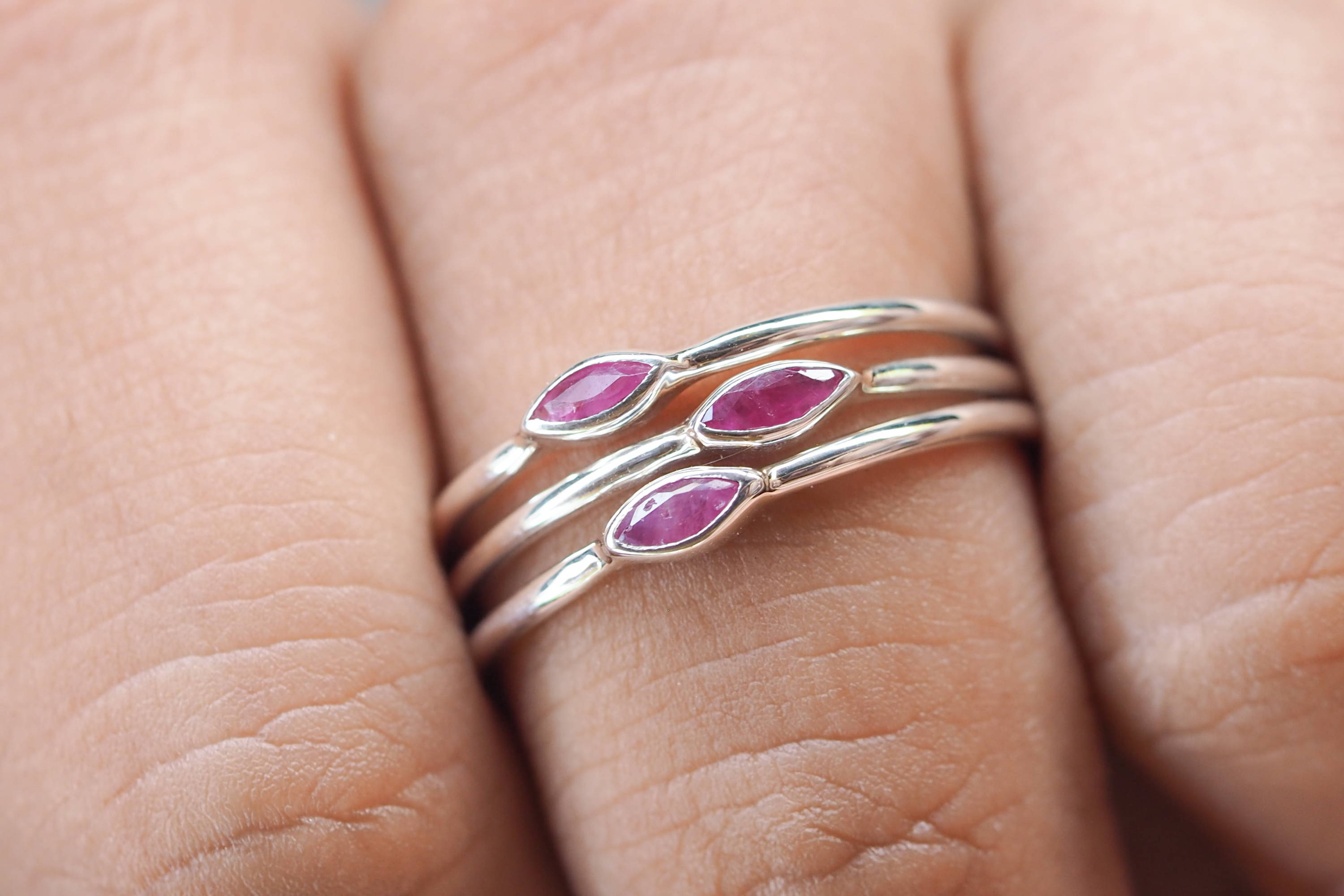 Dainty silver stacking ring with rubies