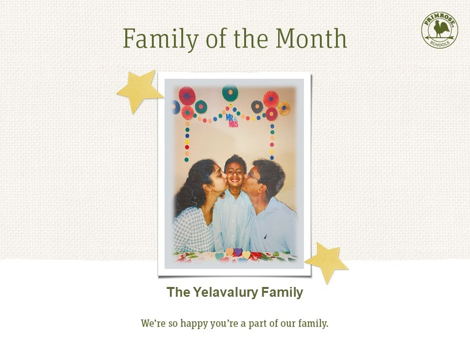family of the month june mom dad son red green yellow blue orange preston meadow primrose schools