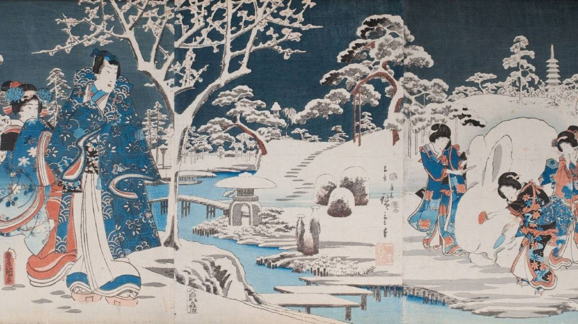 Detail from a Kunisada woodblock print of Japanese princesses playing in the snow.