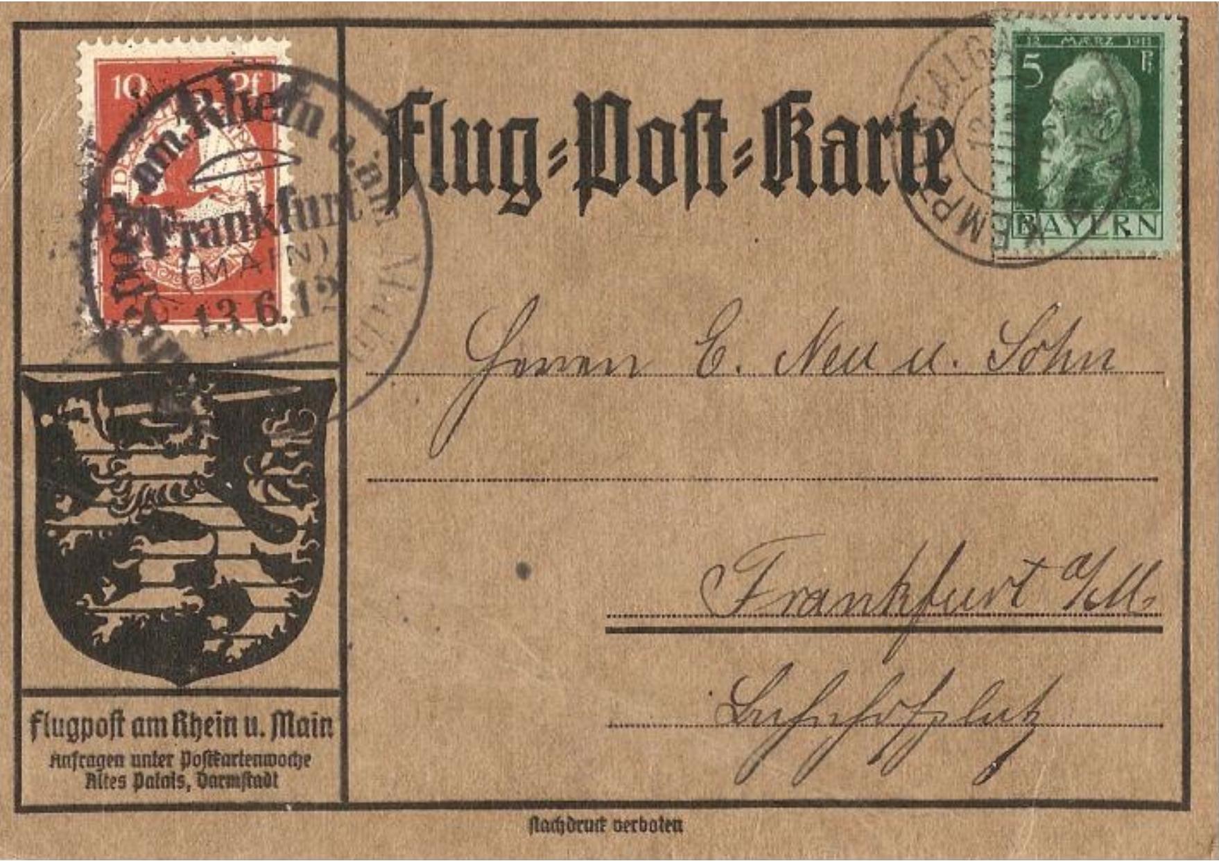 Flugpost-Karte mit Bayernmarke vom 13. Juni 1912 aus Kempten im Allgäu