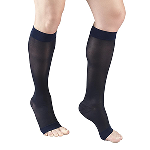 Ladies' Knee High Open Toe Sheer Stockings in Navy
