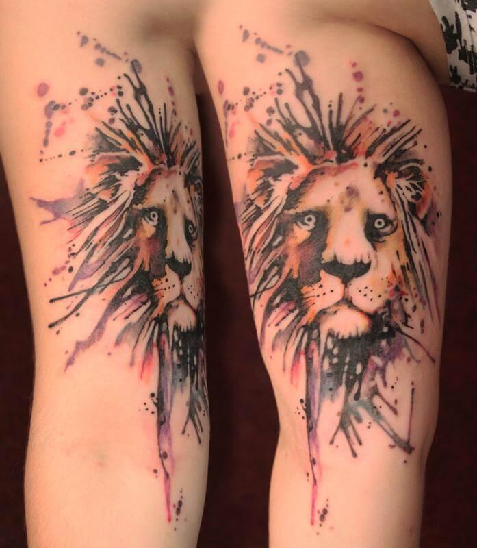 Tatouage Lion Peinture