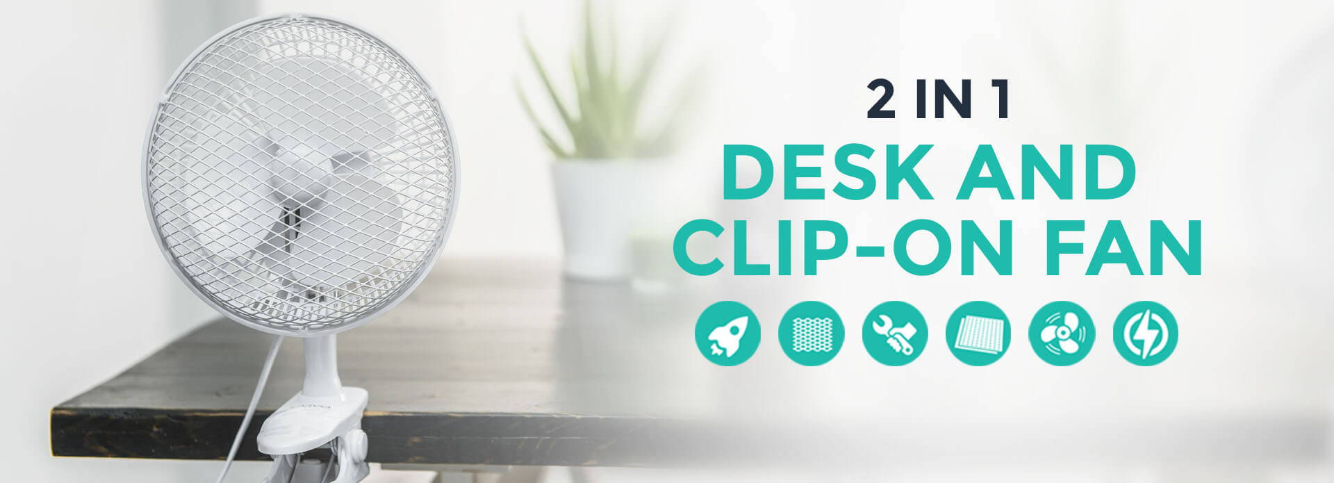 2-in-1 Desk and Clip-on Fan