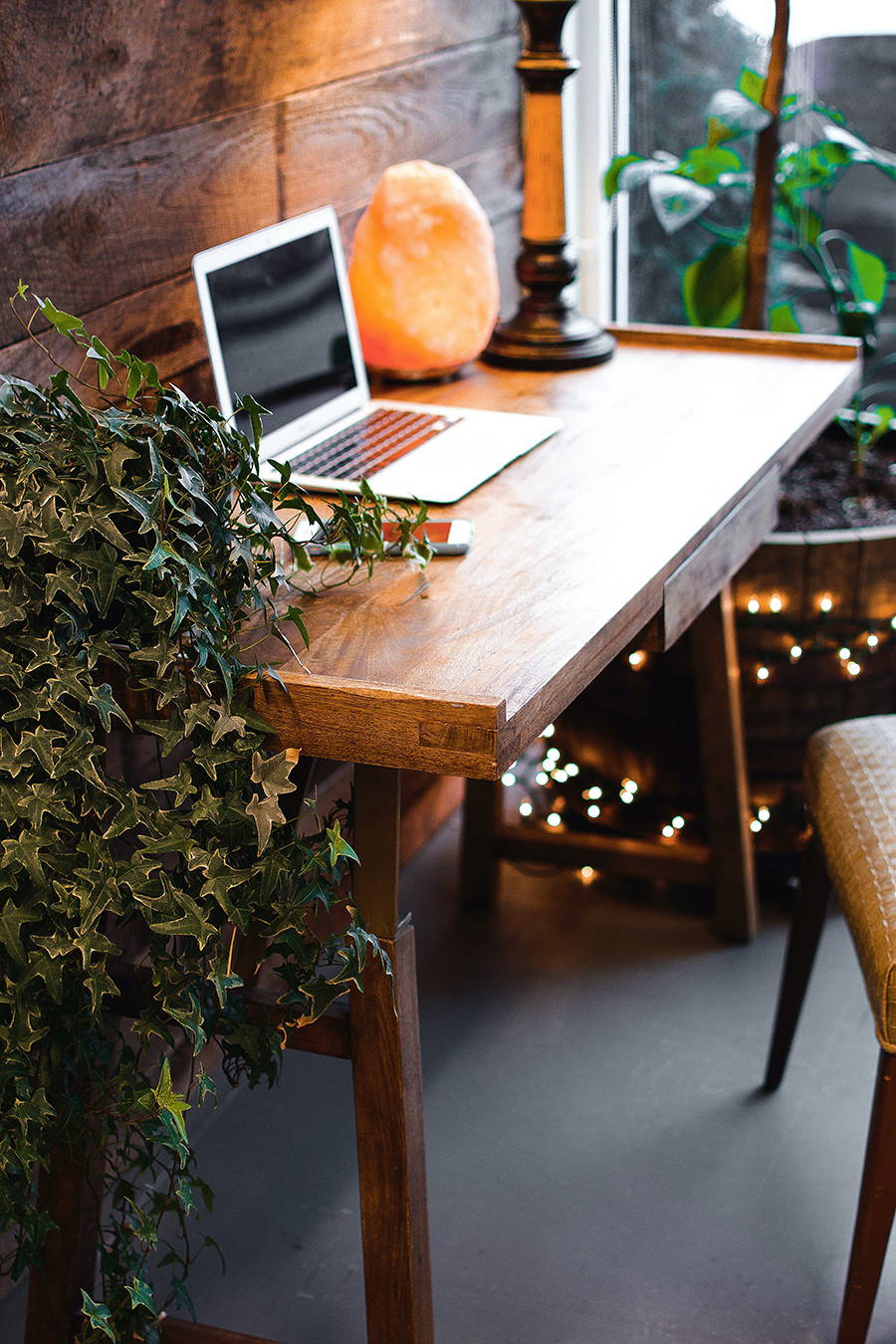 Nice home office desk design with plants