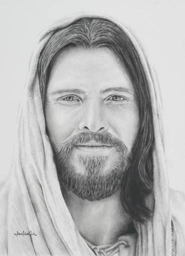 Charcoal portrait of Jesus Christ. He has a soft smile.