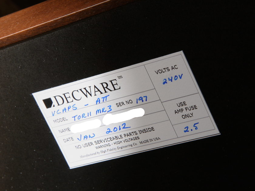 Decware Torii MK3 Integrated VCAPS, ATTEN, 220/240V