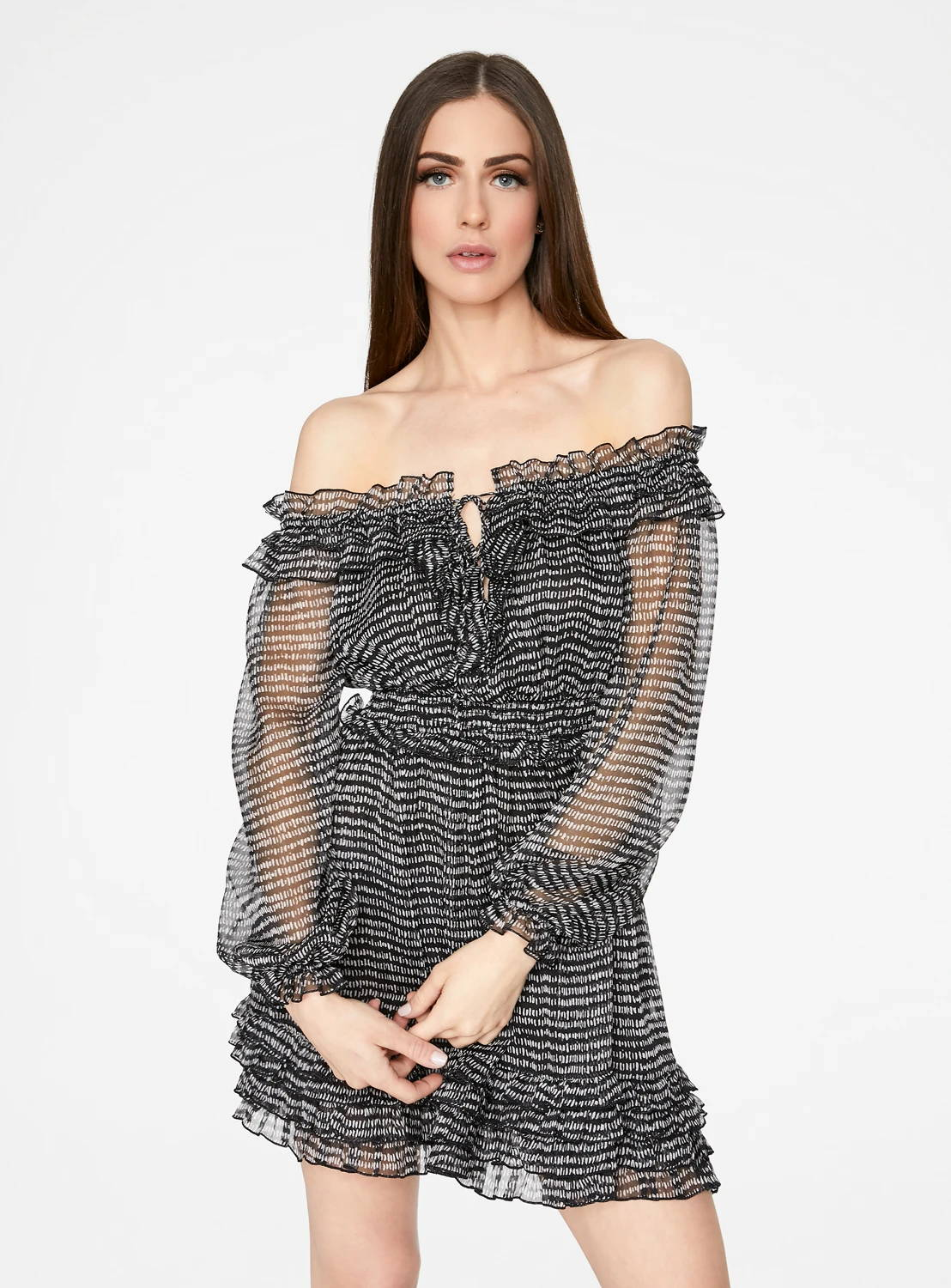 Black and White Long Sleeve Off the Shoulder Ruffle Dress