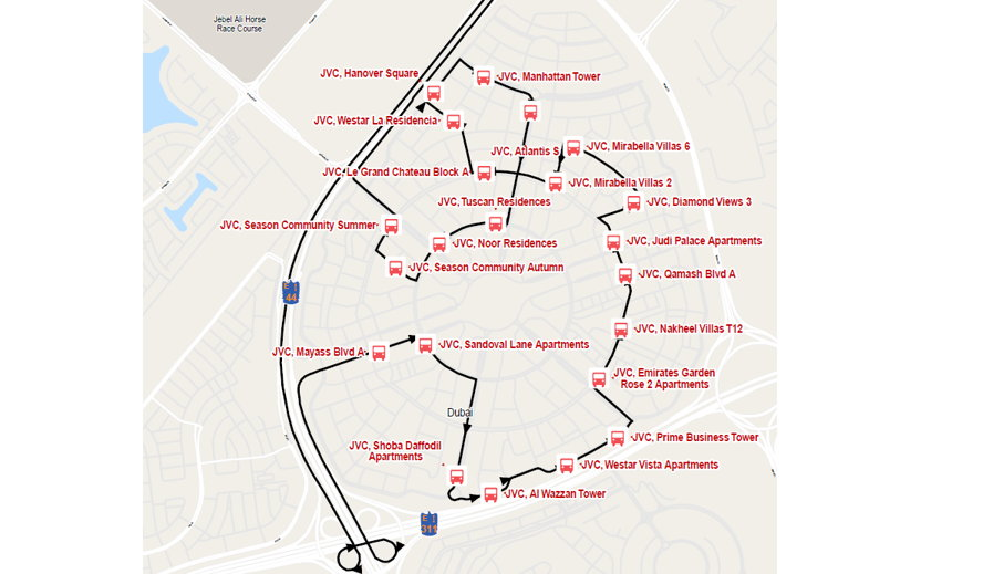 Dubai, United Arab Emirates - The J01 Bus Route.PNG