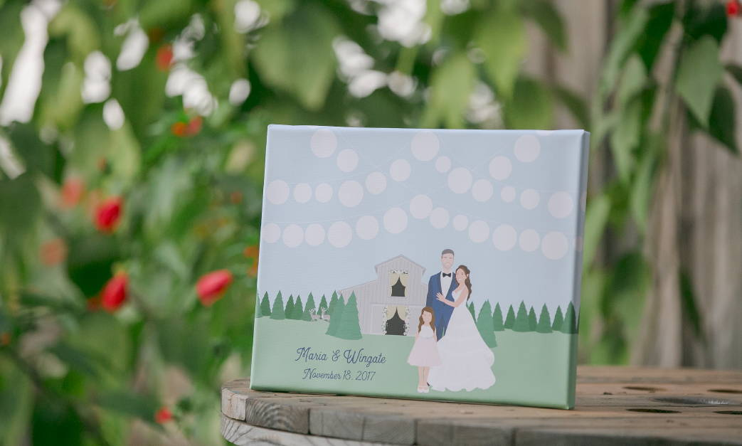 Wedding Guest Book Alternative with Dogs holding Balloons