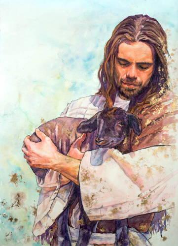 Jesus holding a black lamb.
