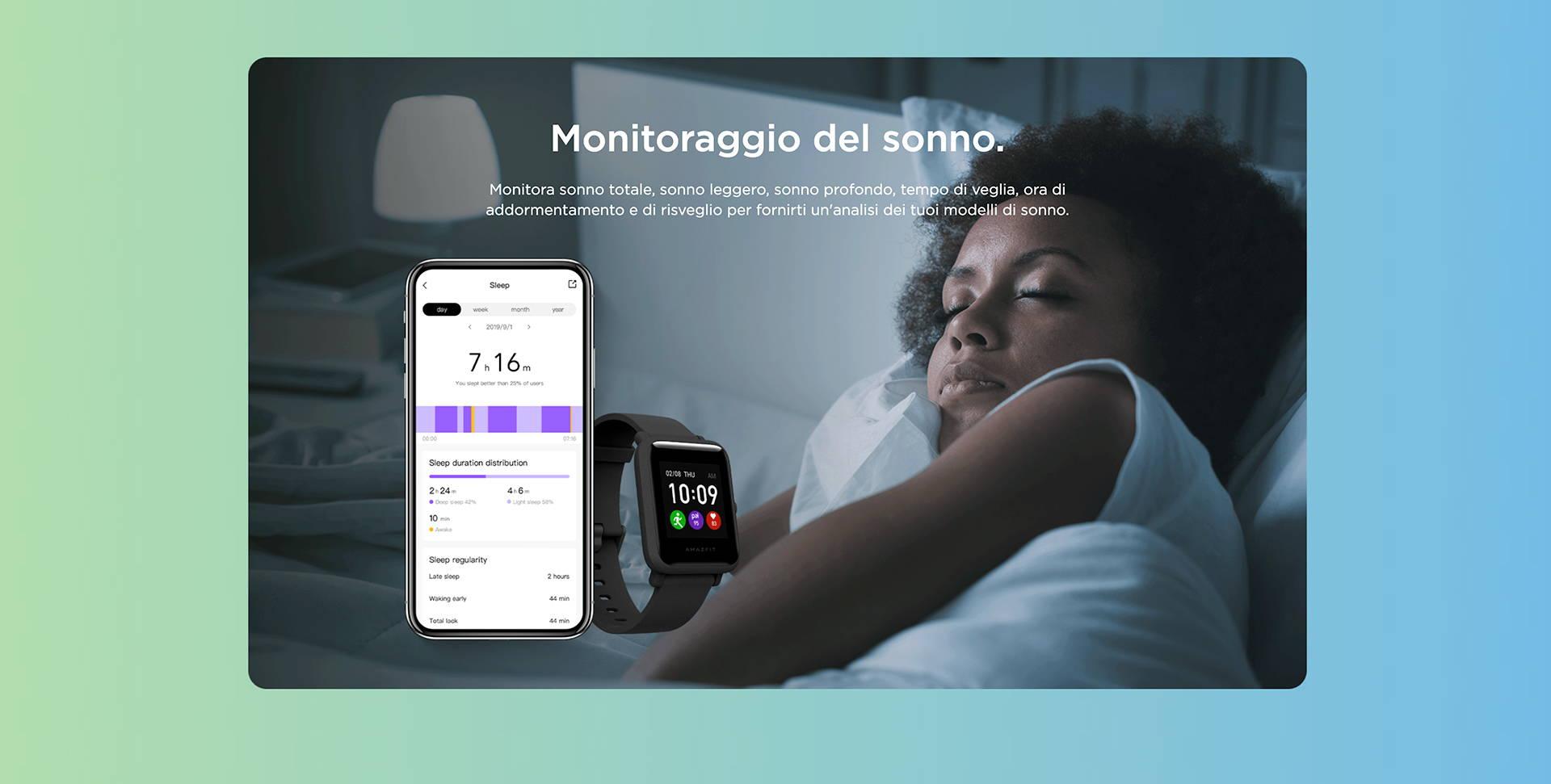 Amazfit IT - Amazfit Bip S Lite - Monitoraggio del sonno.