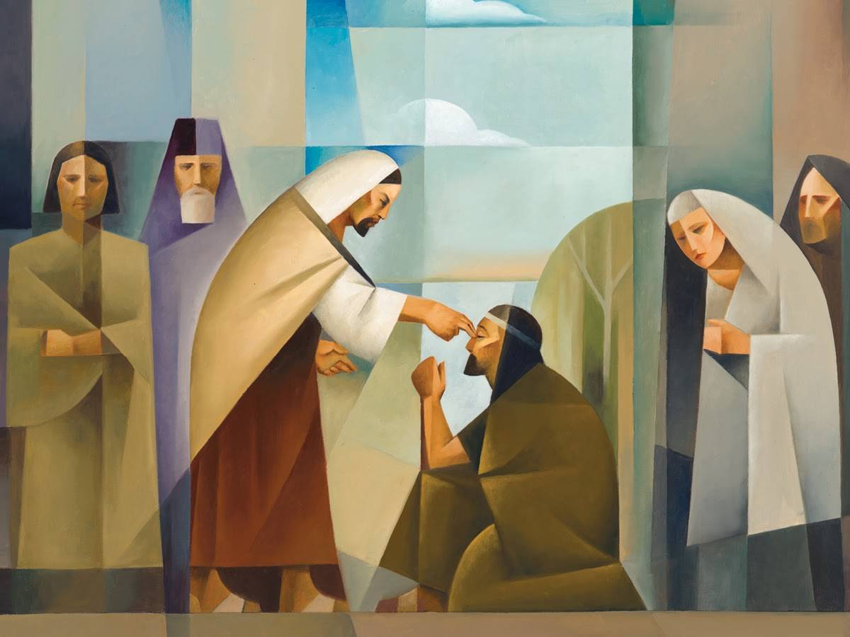 Cubism painting of Jesus healing a blind man.