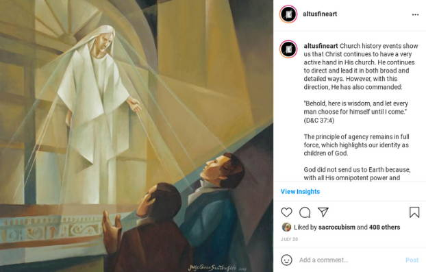 Instagram post featuring an abstract painting of Christ appearing to Joseph Smith and Oliver Cowdery.
