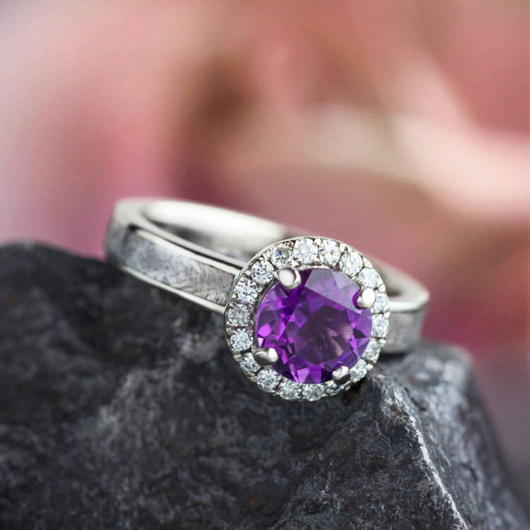 AMETHYST ENGAGEMENT RING, METEORITE HALO RING IN 14K WHITE GOLD
