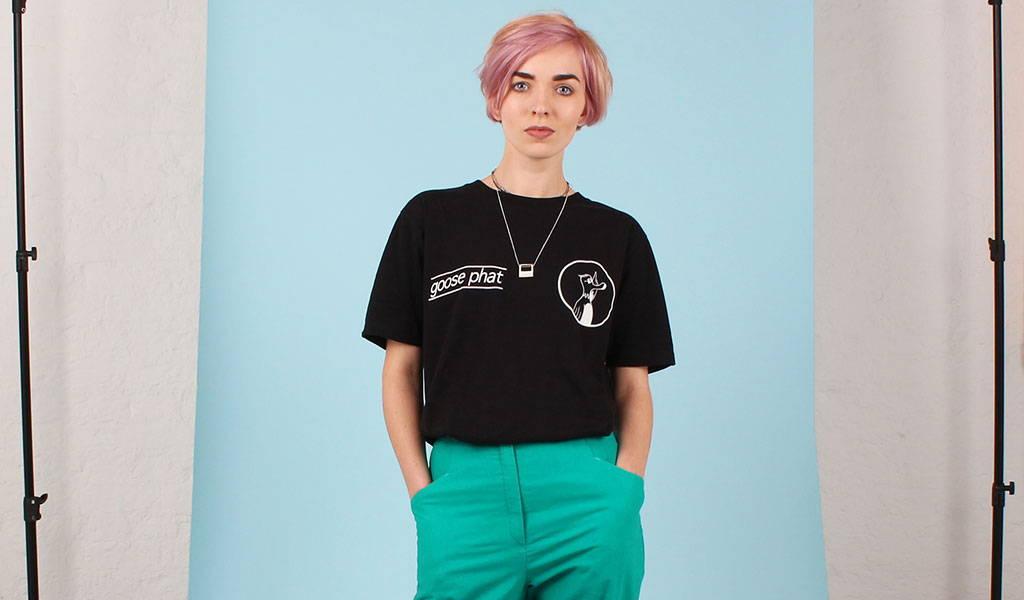 Eliza Likes wearing a Goose Studios organic cotton t-shirt