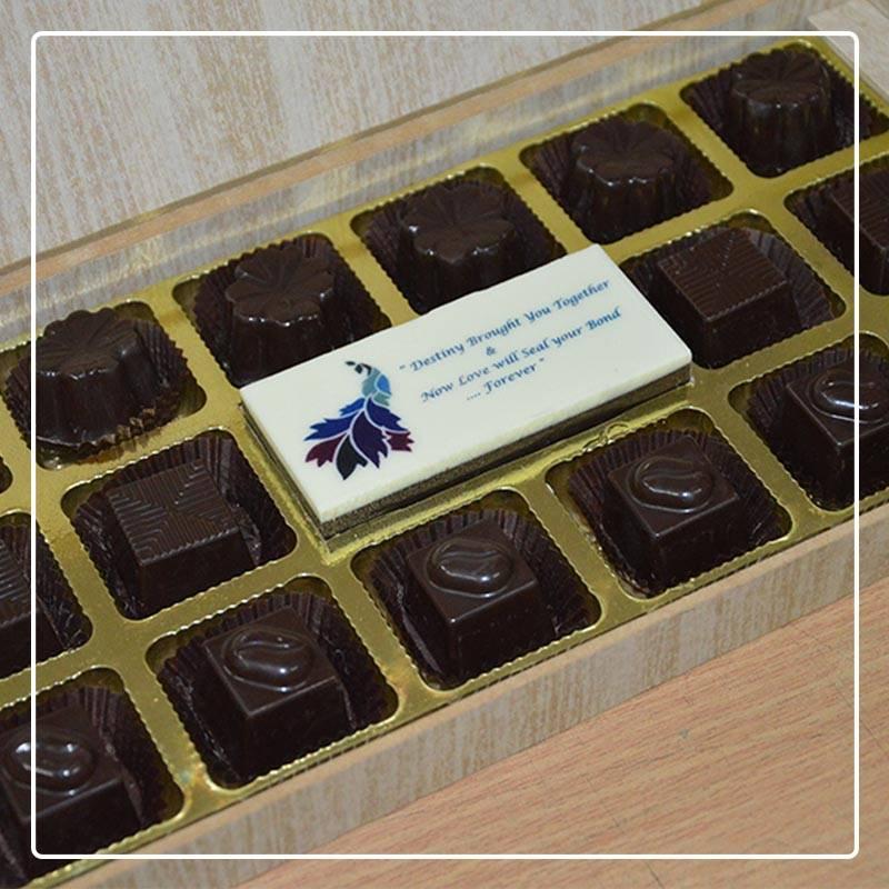 Printed chocolate bar as wedding return gift