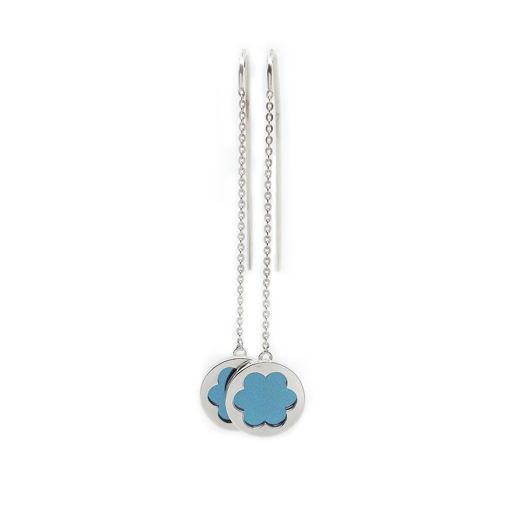 Серьги-протяжки со вставкой из титана (цвет: голубой)