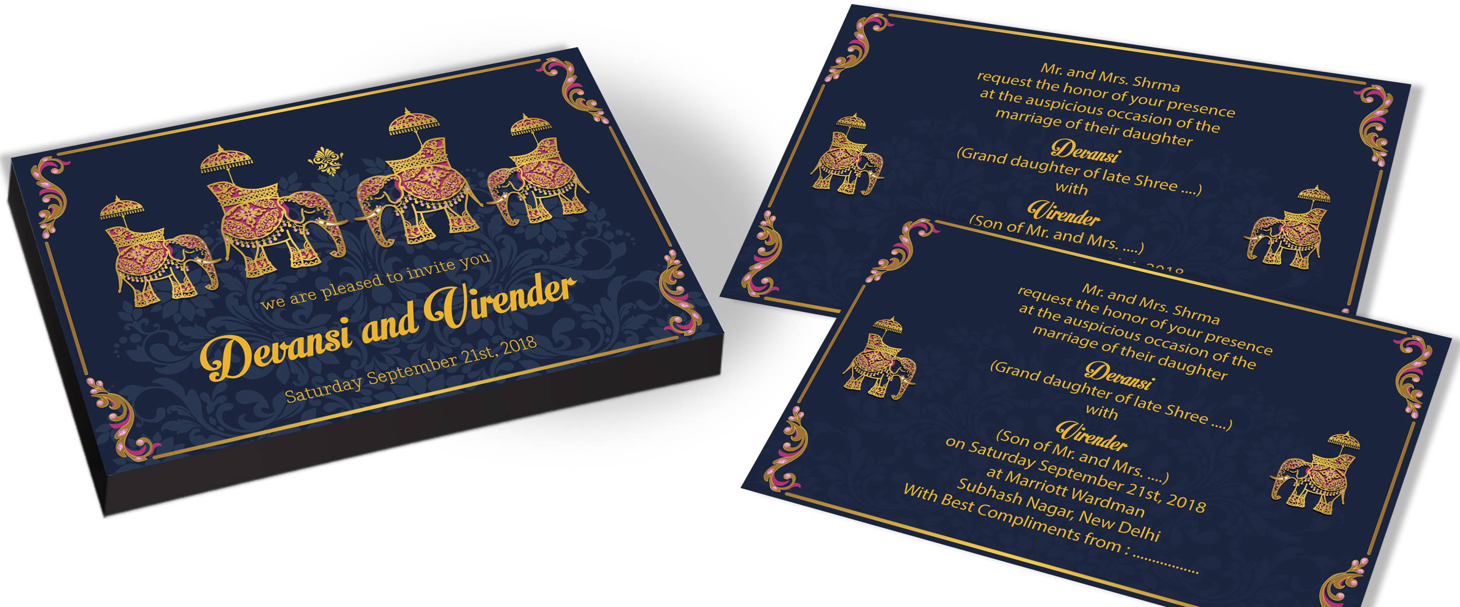 Marriage Invite with Elephant Theme